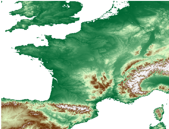 ground-elevation-france-earth-engine